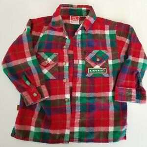 Little-Levi-039-s-Button-Up-Plaid-Soft-Red-Flannel-Shirt-2t-Toddler-vtg-90s-Fishing