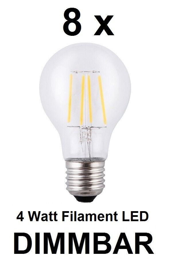 8 x dimmbare 4 Watt FADEN   FILAMENT LED Birne E27, Klarglas Warmweiß 2700K