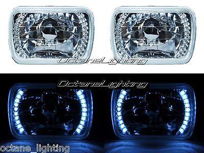 7X6 White LED Halo Halogen Crystal Clear Headlights Angel Eye H4 Light Bulbs Pr