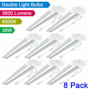 8 Pack 36W LED Shop Light Ceiling Workbench Garage LED Light 6000K Daylight