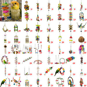 Bird-Parrot-Hanging-Swing-Cage-Toy-Rope-Budgie-Chew-Play-Bell-Mirror-Perch-Stand