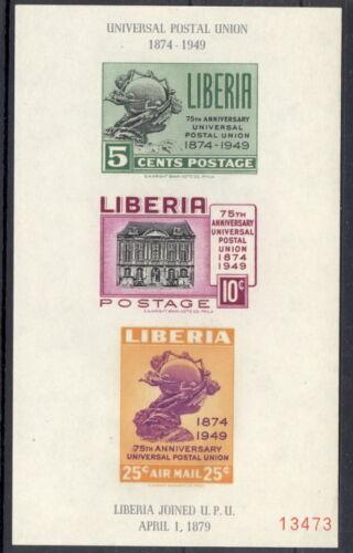 Liberia 1950 UPU imperforate souvenir sheet, $ NH #C67a
