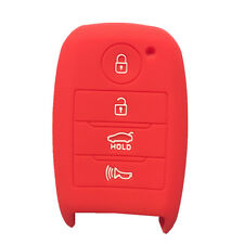 Red Silicone Key Cover Case Holder Chain Bag fit for Kia Smart 3 Buttons Key