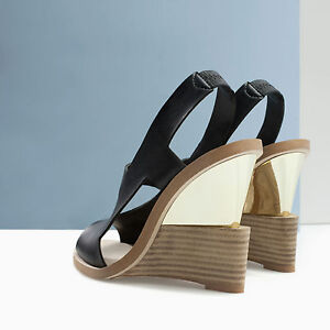 aecc549fab3b ZARA COMBINED BLACK LEATHER GOLD MIRROR WEDGE HEEL SANDALS SHOES 3 ...