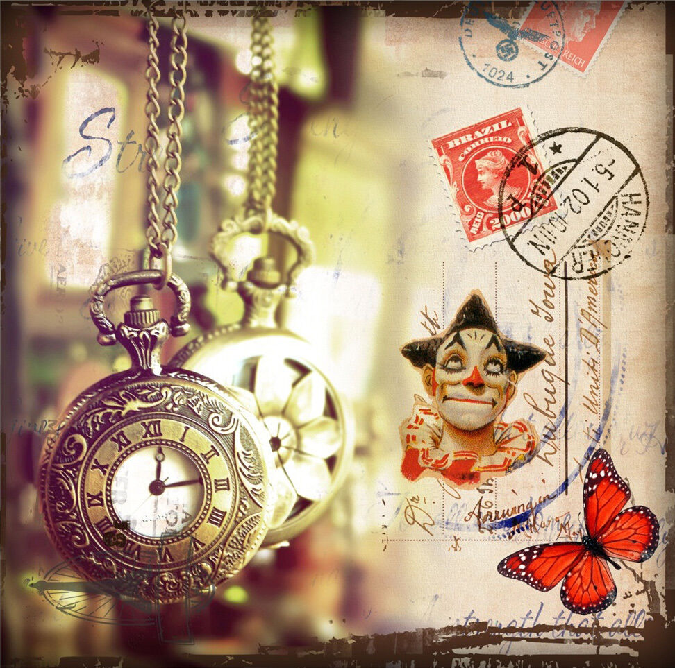 3D Clown And Watch 1785 Paper Wall Print Wall Decal Wall Deco Indoor Murals