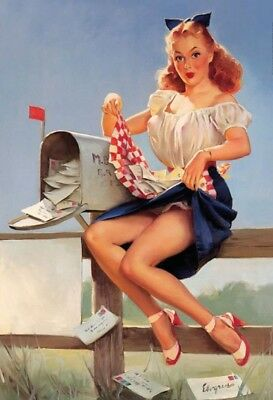 100% Quality Letter Box Pin Up Girl Metal Sign Signboard Arched Tin 7 7/8x11 13/16in