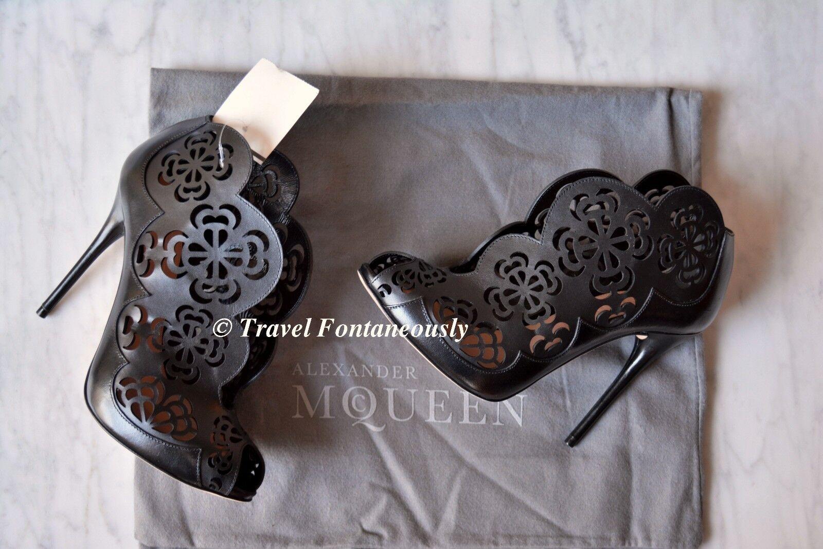 Alexander McQueen Corte Láser Láser Láser de Encaje Floral grabar Tachonado botín botín Talla 36 45fbfa