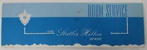 Vintage The Statler Hilton Detroit Room Service Menu