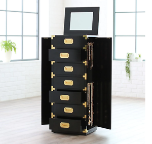 Details About Jewelry Box Armoire Black With Mirror Gold Tall Cabinet  Storage Trunk Organizer