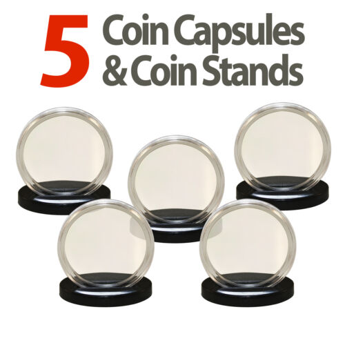 5 Coin Capsules /& 5 Coin Stands for 1oz SILVER or COPPER ROUNDS Airtight 39mm