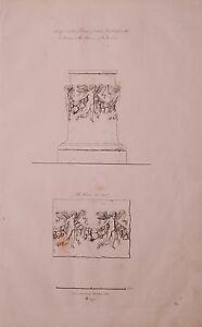 1825 Acquaforte Stampa Antico Circolare Piedistallo Bianco Marmo Vaticano Museo