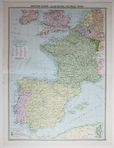 Map Of Southern France And Spain.Details About 1920 Large Map Western Europe Spain France Peace Terms South British Isles