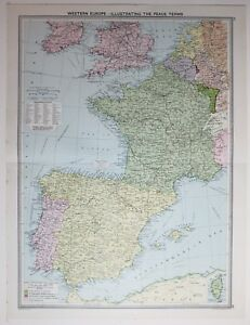 Map Of Southern Spain And France.1920 Large Map Western Europe Spain France Peace Terms South British
