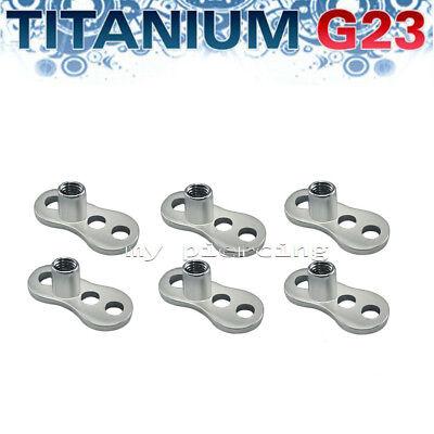 1 Set G23 Titanium 3-Hole 2.5mm Rise Dermal Anchor Base w// Gold IP Flat Disc Top