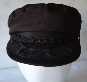 6a87deac3 Details about Vtg Authentic Greek Fisherman's Cap Brown Cotton Hat Aegean  NWOT Size 57 -7 1/8