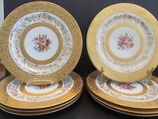 8 Limoges SERVICE PLATES 2xs GOLD ENCRUSTED Floral Centers Gold Scrolling Excell