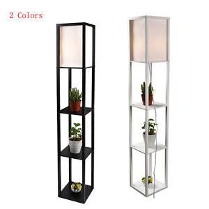 modern shelf floor lamp with off white shade floor storage living room bedroom. Black Bedroom Furniture Sets. Home Design Ideas