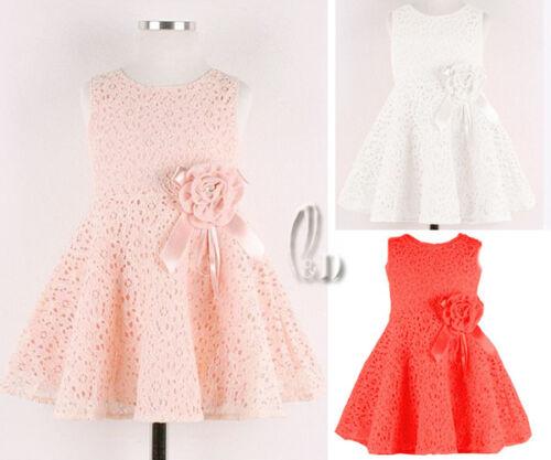 AU SELLER Girls Princess Cotton Lace Party Formal Wedding Costume Dress gd001