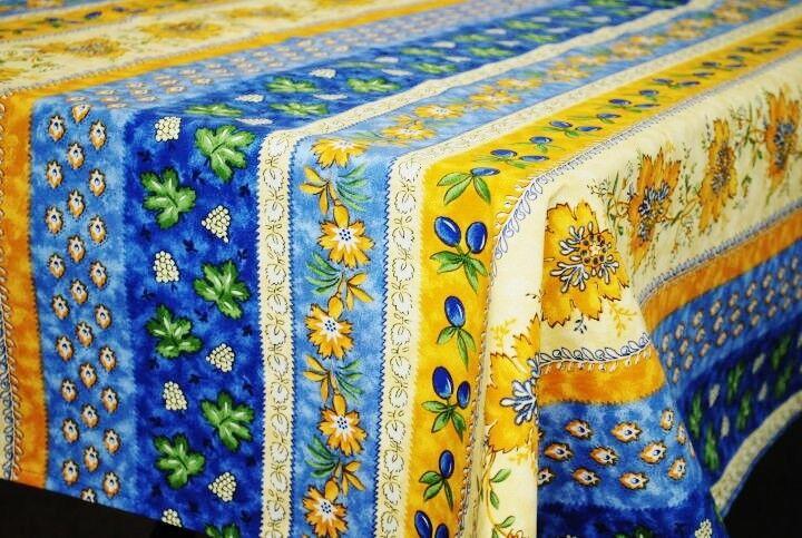 LE CLUNY, MONACO, bleu, french Provence enduit Coton Nappe, 60  X 120