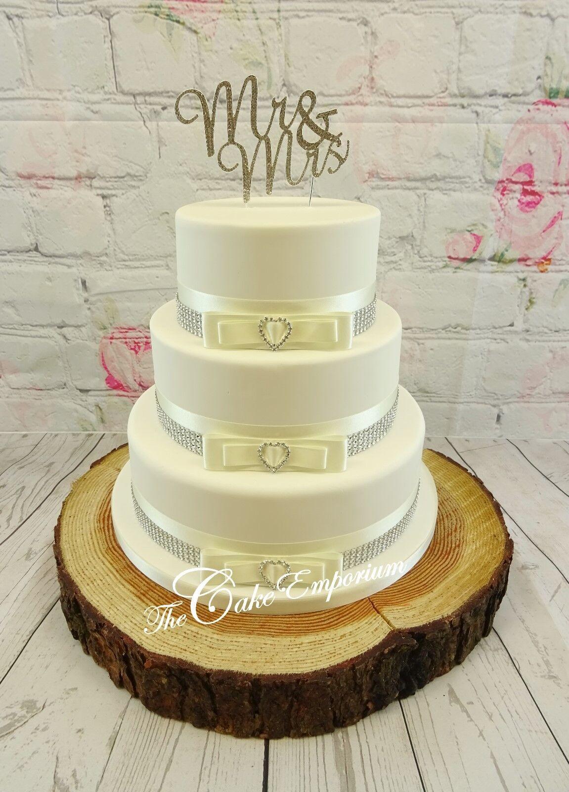 Torta Nuziale da Sposa Bianco E Diamante Topper Mr & & & Mrs amore cuori Torta Set 5d5b25