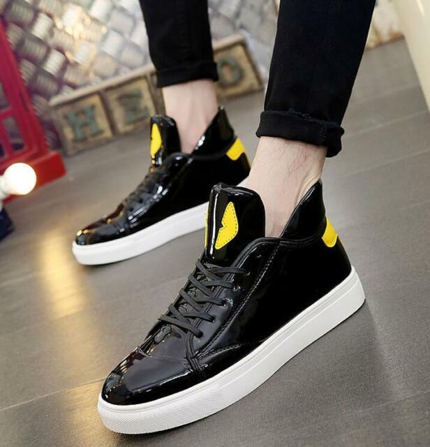 Mens Patent Leather High Top Round Toe Shoes Casual Sport Athletic Sneakers New
