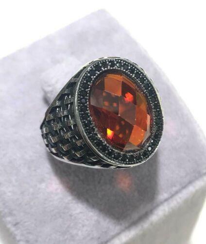 Turc fait main bijoux Argent sterling 925 rubis homme ring 9 10 11