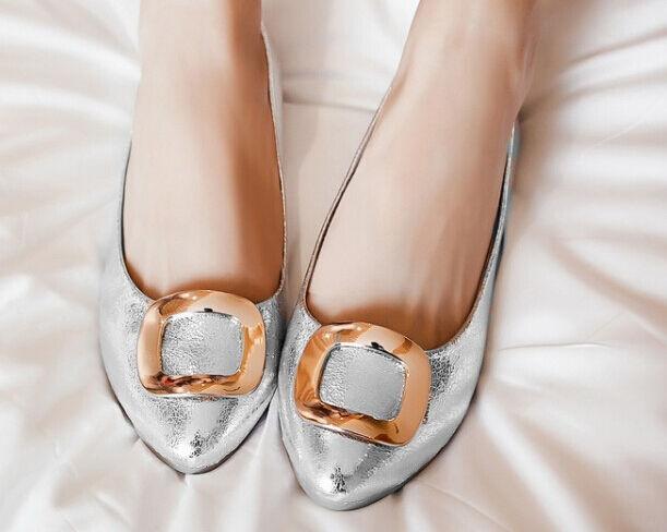 Elegant Komfortabel Ballerinaschuhe Damenschuhe Nap der Erde Silber Poliert