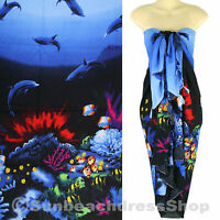 Dolphin Sea Sarong Pareo Skirt Dress Wrap Cover-up Beach Blue sa122s