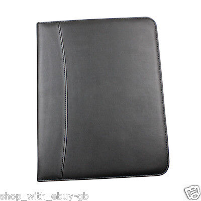 Black A4 ZIPPED Conference Folder-Executive LEATHER LOOK ORGANISER SLIGHT SECOND
