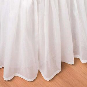 Full Bed Skirt White Sheer Cotton Voile Ruffled 18 Inch