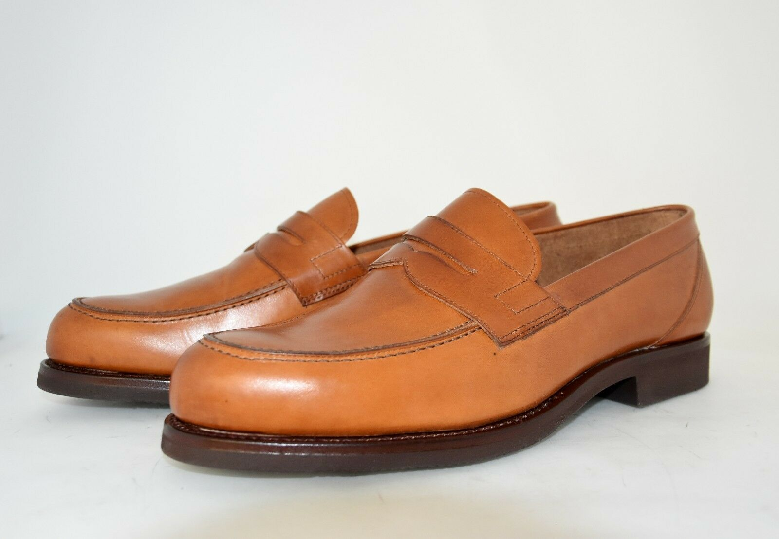 MAN-10eu-11us-PENNY LOAFER-MOCASSINO-LIGHT BROWN-LEATHER SOLE+RUBBER-CUOIO+GOMMA Scarpe classiche da uomo