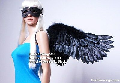 Adult Unisex Wide Spread Sidespan Costume Feather Angel Wings Black or White