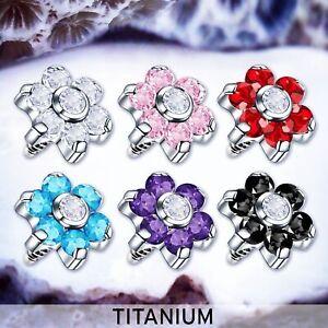 TRIXIE Titanium Dermal Head Flower microdermal Toppers Crystal Dermal Piercings