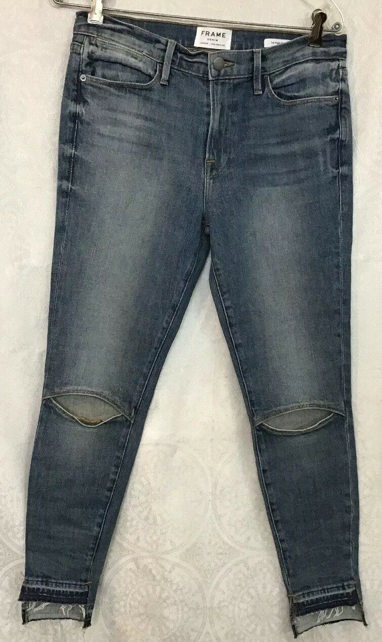 Frame Jeans Le High Skinny Lewis Hill Knee Opening UnEven Ankle Stretch Size 28