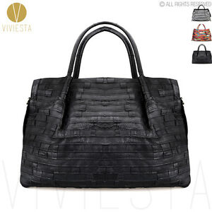 dfcaa11456 Women s Extra Large Real Genuine Leather Striped Patchwork Shoulder ...