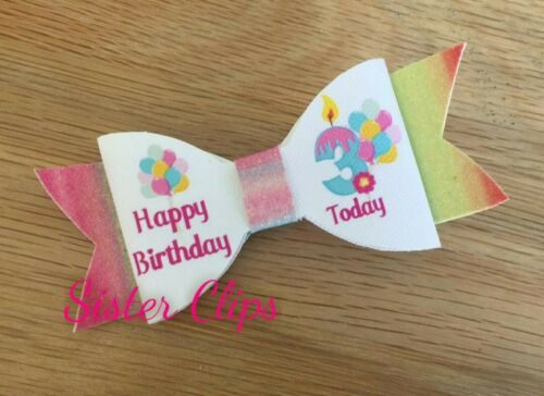 "Filles Handmade Joyeux Anniversaire 3 aujourd/'hui Rainbow Glitter 4/"" hair bow clip"