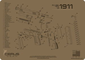 PISTOL CLEANING SCHEMATIC PRO MAT by CERUS GEAR for 1911 COLT STYLE AUTO .45acp
