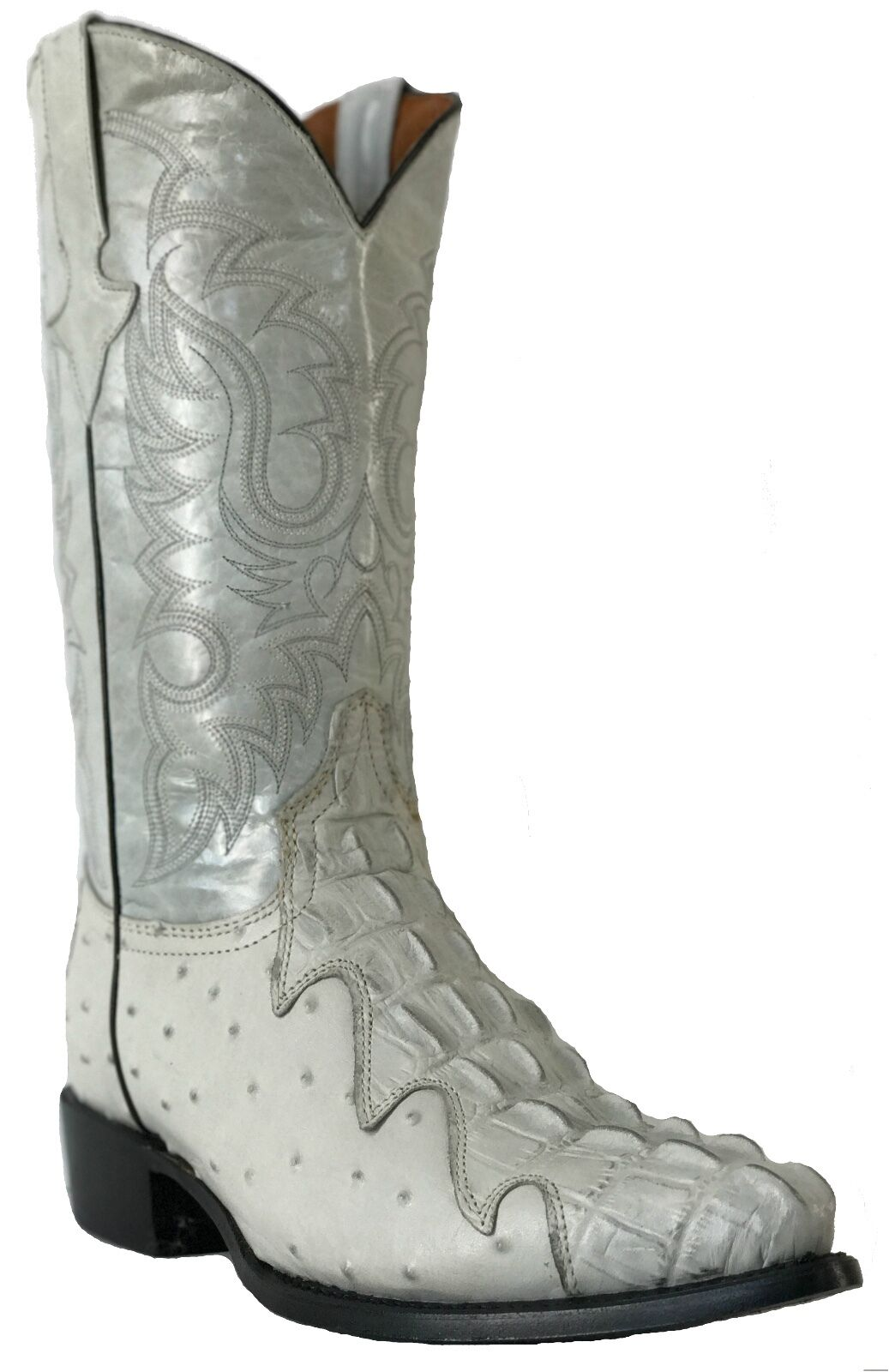 Men's New  Ostrich Crocodile Design Leather Cowboy Western Boots Of White J Toe