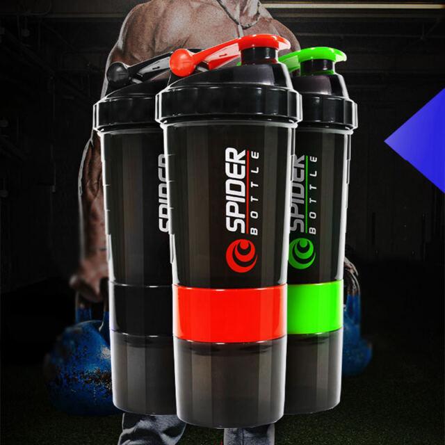 AU Fashion 600ml Plastic Useful Sport Gym Protein Powder Shaker Mixer Cup Bottle