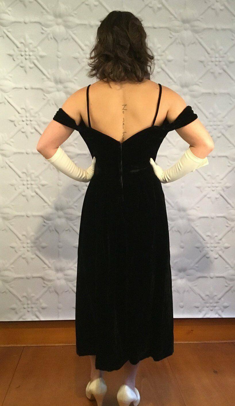 1950s Vintage Ceil Chapman Off Shoulder LBD Black… - image 2