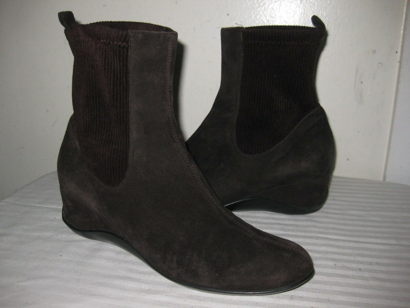 Unbranded Suede Chocolate Ankle Wedge Boots shoes Women's Size 40   9.5