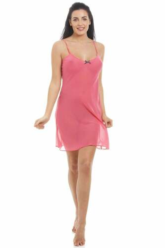 Camille Femme Nightwear lighweight Rose Corail Mousseline Nuisette Chemise de nuit /& Wrap