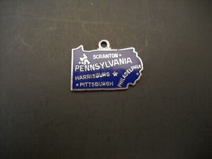 Vintage-Wells-Sterling-Silver-Dark-Blue-Enamel-Charm-Pennsylvania-Golden-State