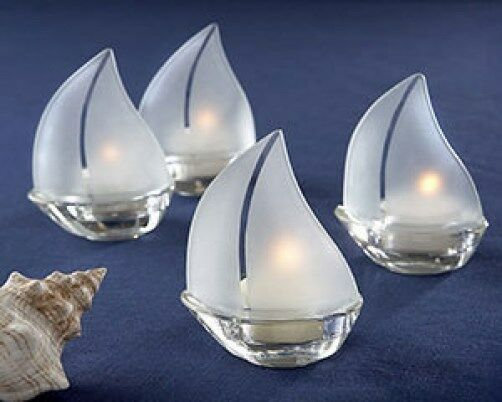 68 Set Sail Frosted Glass Sailboat Tealight Holders Candle Wedding Favors