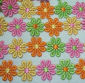Galon Applique Fleur Marguerite 4 Couleurs 25 Mm Lot De 16 Fleurs