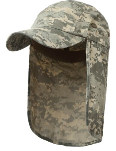 Military Style Sun Shield Hat with Earflap Camo Army Hiking Outdoor Cap  Camping