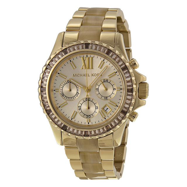 Michael Kors Everest Light Champagne Dial Gold-tone and Horn Acetate Ladies