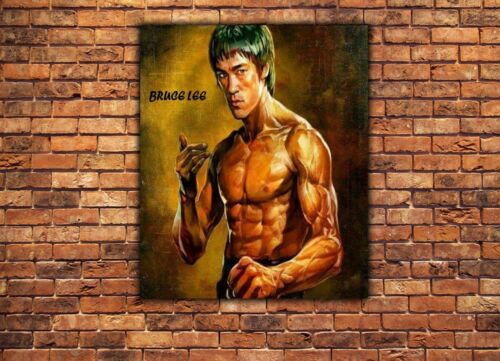 NEW BRUCE LEE IN GOLD PICTURE PRINT ON FRAMED CANVAS WALL ART HOME DECORATION