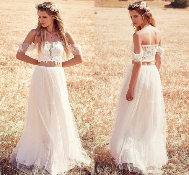 Lace Tulle Two Pieces Wedding Dress 2018 Off The Shoulder Beach