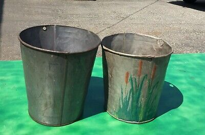 2 LARGE ANTIQUE TIN SAP Bucket w// OLD RUSTIC COLOR GREAT DECOR FLOWERS Planters!